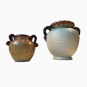 Vases Style Art Déco en Grès par Knabstrup, 1930s, Set de 2