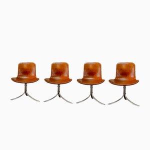 Erstauflage PK9 Esszimmer Stühle von Poul Kjaerholm für E. Kold Christensen, 1960er, 4er Set
