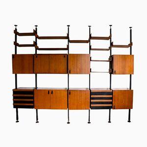 Italian Teak Veneer Modular Bookcase, 1960s