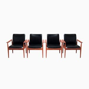 Vintage Diplomat Chairs by Finn Juhl for France and Son, Set of 4