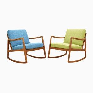 Rocking Chair Vintage par Ole Wanscher pour France & Søn, 1950s, Set de 2