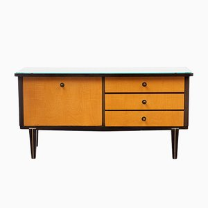 Bicoloured Maple Chest of Drawers with Glass Top, 1950s