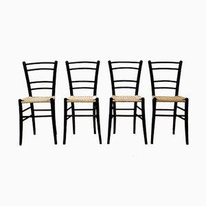 Chaises Vintage en Bois Noir de Cassina, Set de 4
