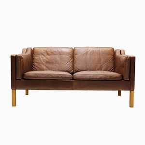 Mid-Century 2-Seater Brown Leather Couch by Borge Mogensen