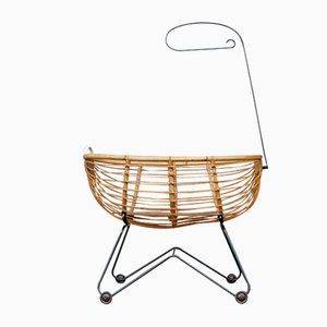 Mid-Century Bamboo Cradle on Wire Frame with Castors