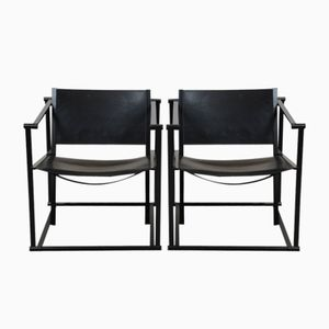 FM62 Cubic Leather Lounge Chairs by Radboud van Beekum for Pastoe, 1980s, Set of 2