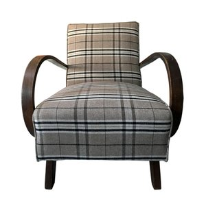Vintage Tartan Flannel Lounge Chair by Jindřich Halabala, 1950s