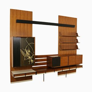 Italian Wall Unit in Rosewood Veneer and Formica, 1960s