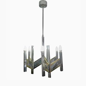 Chandelier Vintage à 8 Lampes par Gaetano Sciolari, 1970s
