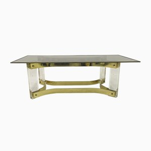 Lucite and Brass Coffee Table, 1970s