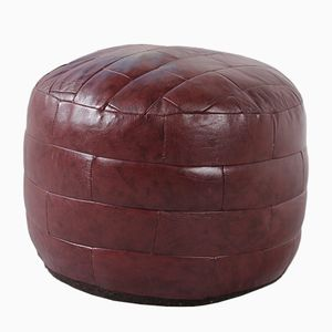 Wine Red Pouf in Leather, 1970s