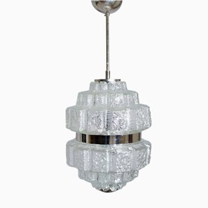 Ceiling Lamp in Glass and Chrome Metal, 1960s