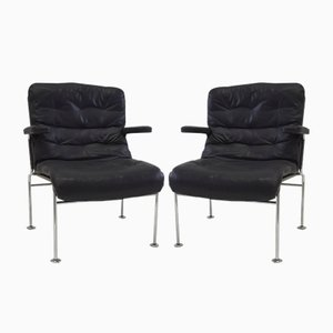 Birgitta Leather Chairs by Bruno Mathsson for Dux, 1960s, Set of 2