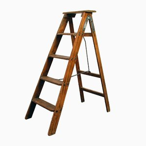 Vintage Industrial French Wooden Ladder