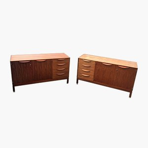 Walnut Credenzas by Jens Risom, 1960s, Set of 2