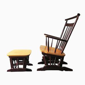 Vintage Stuhl und Hocker mit Gleitfunktion, 1960er