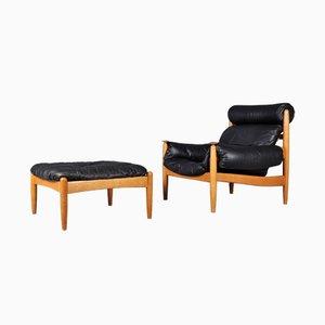 Swedish Lounge Chair & Ottoman, 1970s