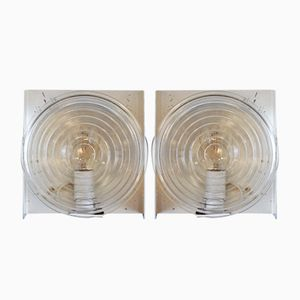 Glass Wall Sconces from Holophane, 1970s, Set of 2