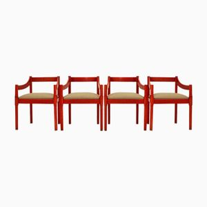 Red Chairs by Vico Magistretti for Cassina, 1960s, Set of 4