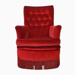 Roter Sessel aus Samt, 1950er