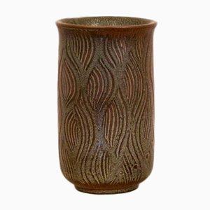 Glasierte Dänische Vintage Steingut Vase von Nils Thorsson für Royal Copenhagen