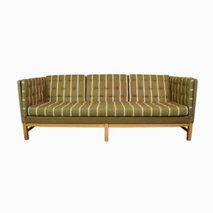 Mid-Century Danish EJ 315 Olive Green Wool Three-Seater Sofa from Erik Jørgensen, 1970s