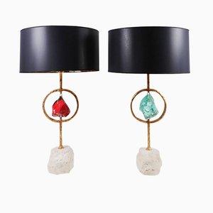 Lampade da tavolo in ottone, cristallo e travertino di Giacomo Cuccoli, 2012, set di 2
