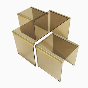 T35R Brass & Glass Nesting Tables by Pierangelo Gallotti for Gallotti & Radice, 1970s