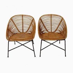 Deutsche Gartenstühle aus Rattan, 1960er, 2er Set