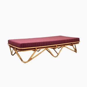Sofá cama de ratán, años 50
