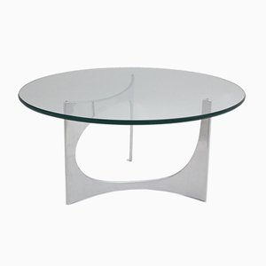 Vintage German Round Glass Coffee Table by Knut Hesterberg, 1970s