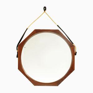 Achteckiger Italienischer Spiegel mit Rahmen aus Teak, 1960er