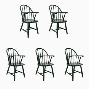 Grüne Vintage Windsor Stühle von Josef Frank für Gebrüder Thonet Vienna GmbH, 1920er, 5er Set