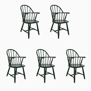 Vintage Green Windsor Armchairs by Josef Frank for Gebrüder Thonet Vienna GmbH, 1920s, Set of 5
