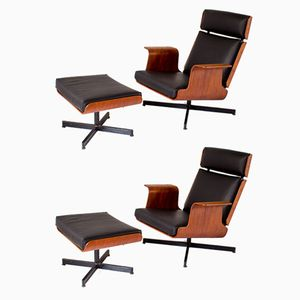 Teak Plywood Lounge Chairs & Ottomans, 1960s, Set of 2