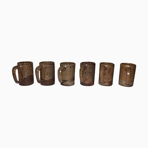 Vintage Stoneware Mugs by André Bodin, Set of 6