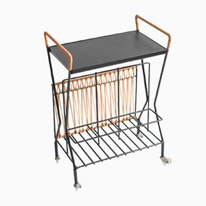 Mid-Century German Magazine Stand Serving Cart, 1960s