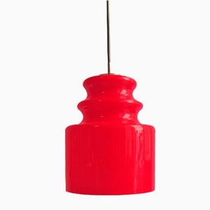 Vintage Red Opalescent Glass Pendant Lamp from Peill & Putzler