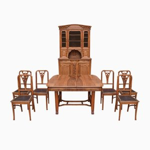Antique Art Nouveau Walnut Dining Set
