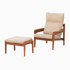 Mid-Century Danish Easy Chair and Ottoman by Arne Wahl Iversen for Komfort, 1960s