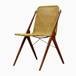 Niederländischer Schreibtisch Stuhl aus Teak & Schilfrohr, 1950er