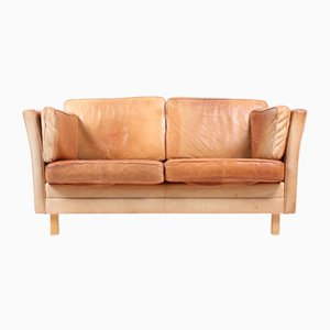 Mid-Century Danish Brown Leather Two-Seater Sofa from Mogens Hansen, 1980s