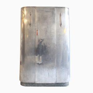 Kleiderschrank aus Poliertem Aluminium mit Kupfer-Elementen & Bakelit Griff von Huntingdon Aviation, 1950er