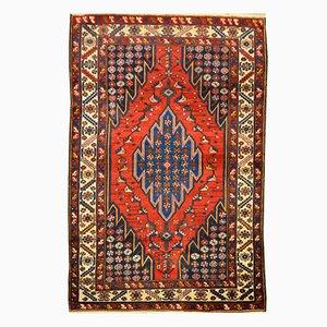 Persischer Sirjan Teppich aus Wolle in Rot über Blauem Hintergrund, 1920er