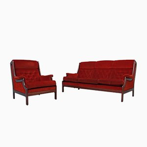 Vintage Lounge Chair and Sofa by Guy Rogers, 1960s, Set of 2