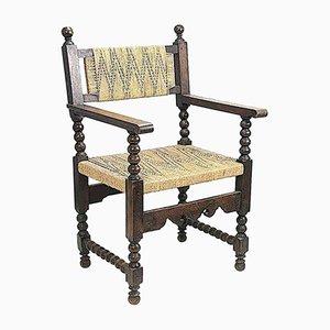 Französischer Sessel aus Buche & Seil, 1950er