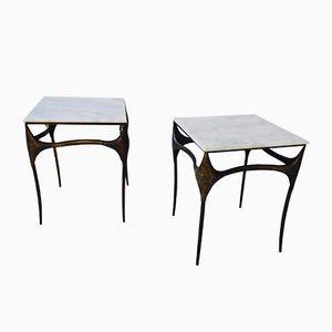 Beistelltische aus Bronze & Marmor, 1980er, 2er Set