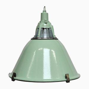 Green Enameled Industrial Pendant, 1950s