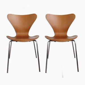 3107 Teak Furnier Stühle von Arne Jacobsen für Fritz Hansen, 1960er, 2er Set