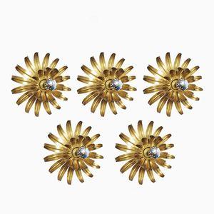 Blumen Wandleuchten, 1970er, 5er Set